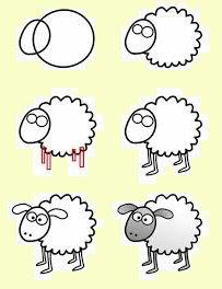How to draw sheep 羊の描き方